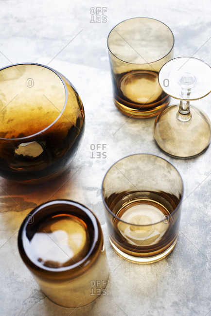 Overhead view of Glassware home collection