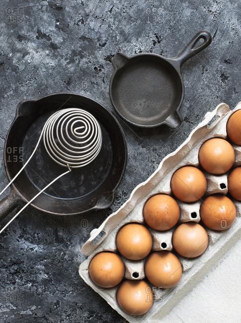 Overhead view of Dozen of fresh eggs