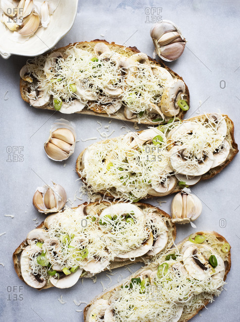 Toasts with mushrooms cheese and green onion