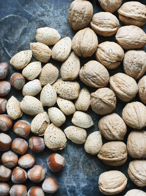 Close up of different types of nuts in shell