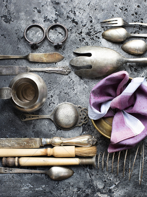 Vintage kitchen objects on stone rustic table