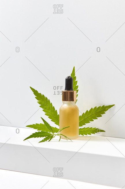 Bottle of medical CBD oil from natural cannabis plant.