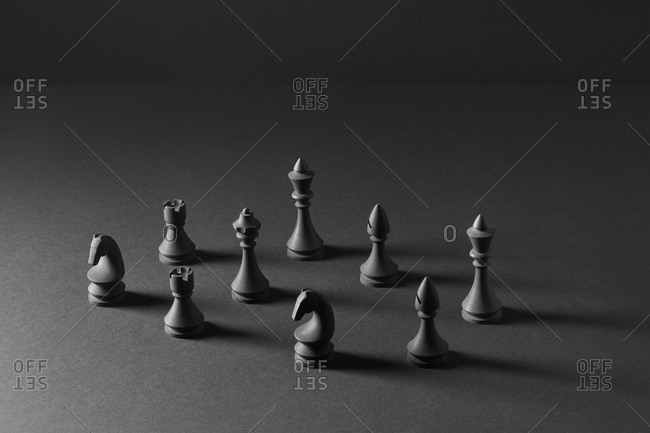 Black figures for a chess game.