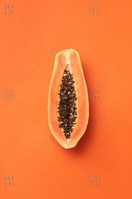 Slice of natural organic papaya fruit.