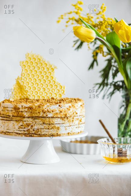 Traditional Marlenka a honey layered cake