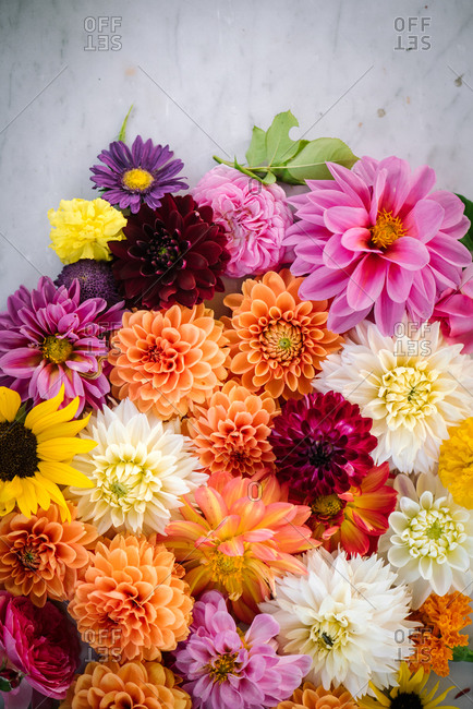Close up of a beautiful and vibrant floral arrangement