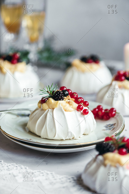 Close up of mini pavlova with berries on top