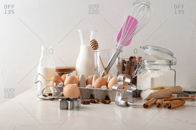 Different baking ingredients to make cookies on light table