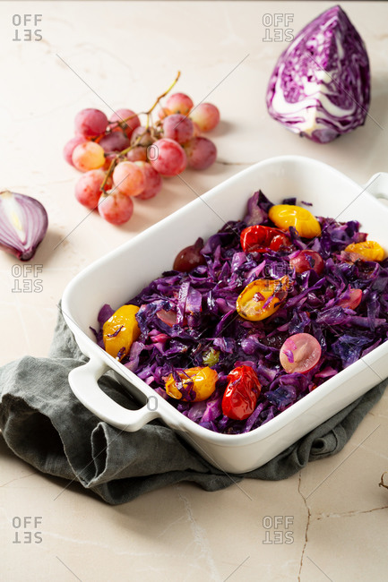 Close up of roasted red cabbage in white dish