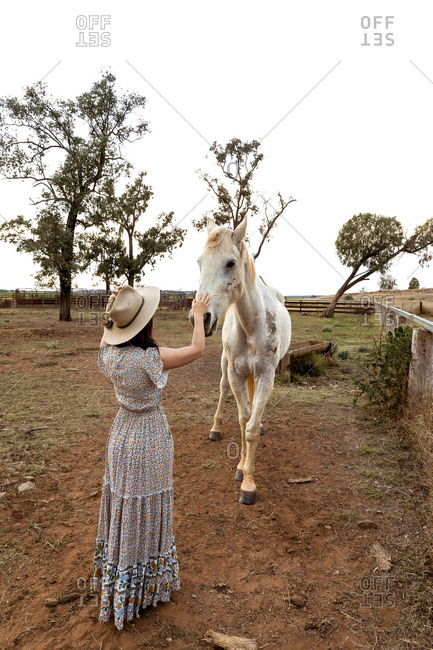 Young woman on a farm petting a white horse