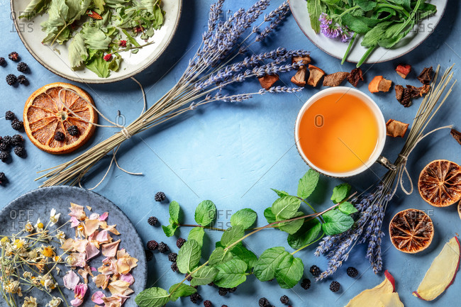 Herbal tea, natural, organic, and healthy, a cup with an assortment of ingredients, herbs, flowers, and fruits, shot from above with copy space