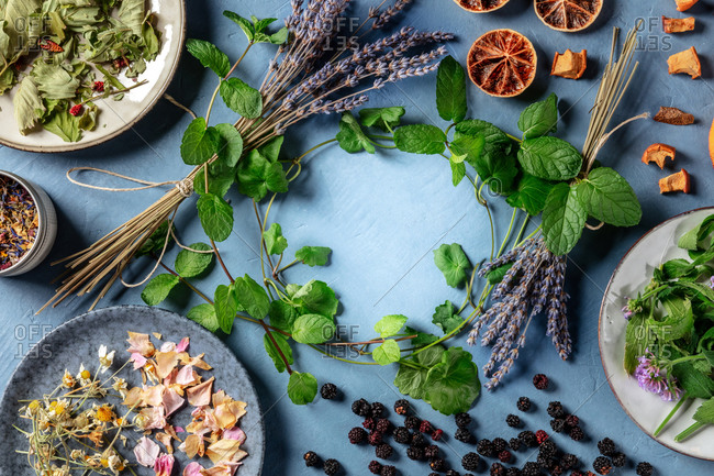 Herbal tea design template with copy space. An assortment of natural, organic, and healthy ingredients, forming a frame, overhead shot