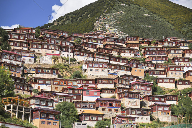 From below of row small wooden red houses randomly constructed on foot of tall slope covered with mountain forest