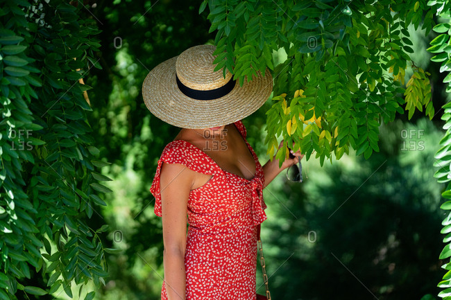 Carefree unrecognizable female in summer dress and straw hat standing near trees in lush garden and looking down while enjoying nature