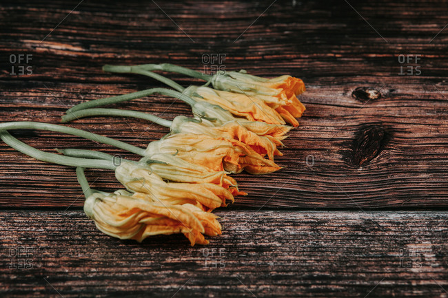 Top view of heap of colorful blossoming zucchini flowers with spiky edges on rustic surface