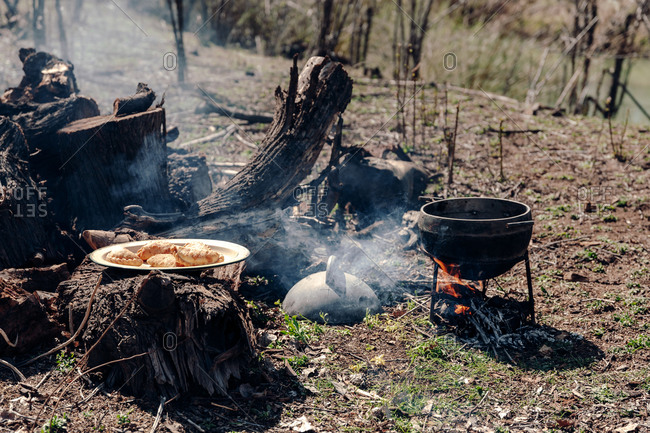 Bowl with delicious pasties placed on wooden stump near campfire with metal pot on sunny day in woods