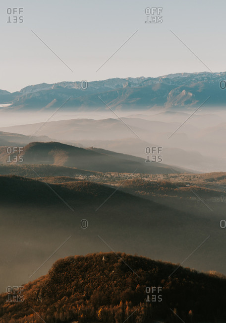 Foggy morning in rolling hills in Bosnia and Herzegovina