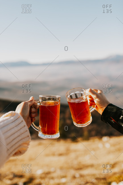 Couple toasting with beer mugs overlooking mountains