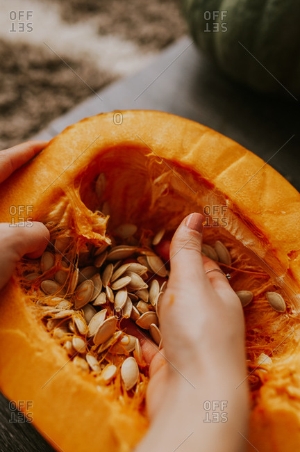 Woman removing seeds from a pumpkin