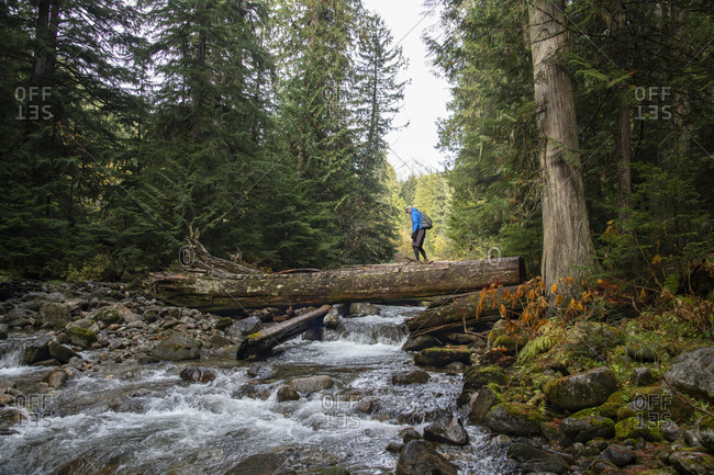 A hiker on a slippery log crossing a river in Nelson, British Columbia