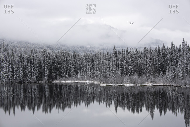 First snowfall of winter on an alpine lake in the interior of British Columbia