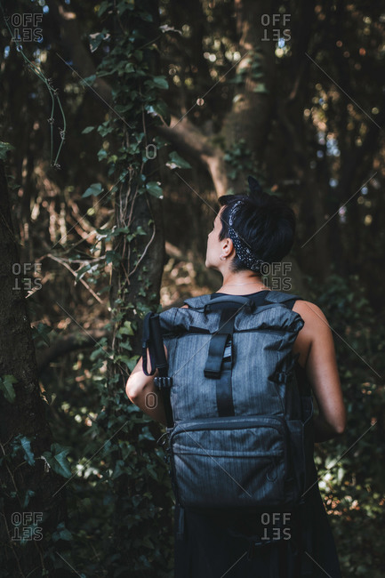 Rear view of a woman hiking in nature wearing a backpack while hiking in the forest looking up in the woods surrounded by trees