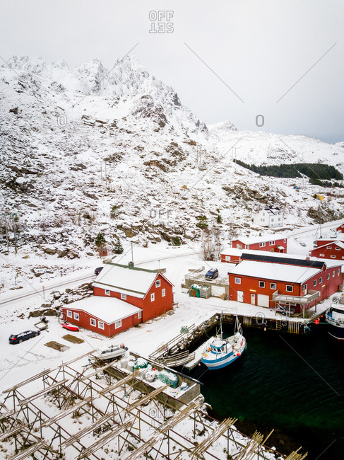 February 20, 2020: Aerial view of town of Ballstad, Nordland, Artic Circle, Norway.