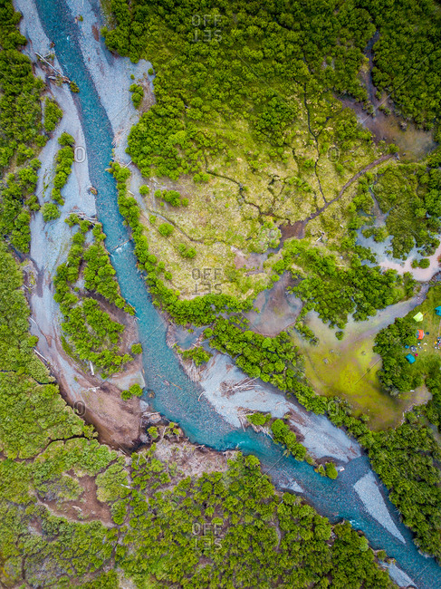 Aerial view of river running through Silverstone, Colorado, USA.