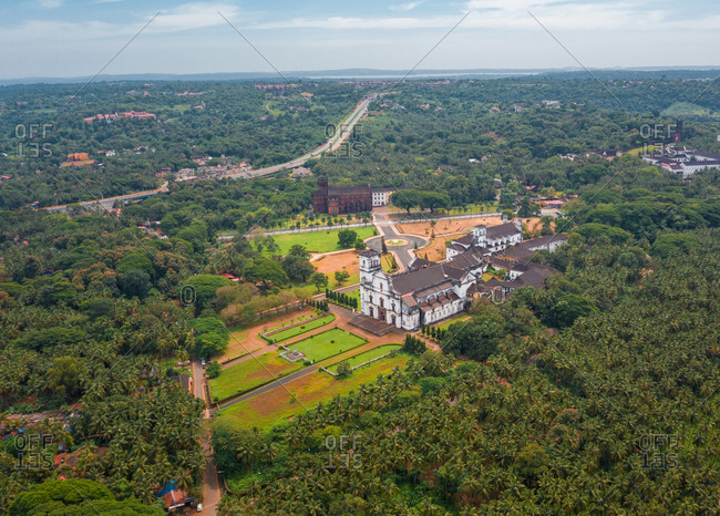Aerial view of the Se Catedral de Santa Catarina, old Goa, India.