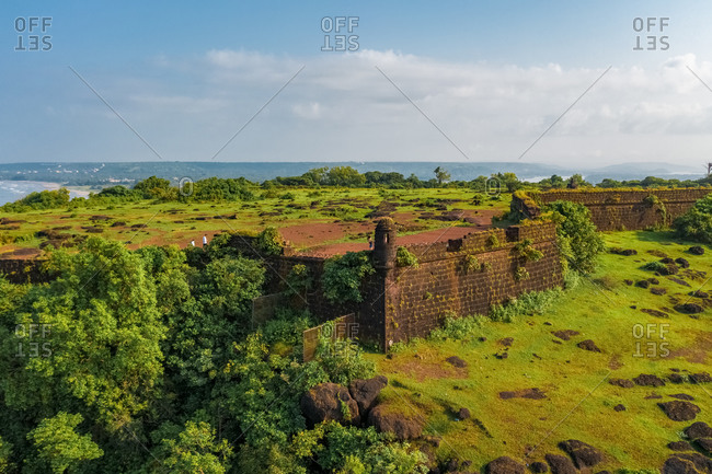 Aerial view of Chapora Fort, Goa, India.