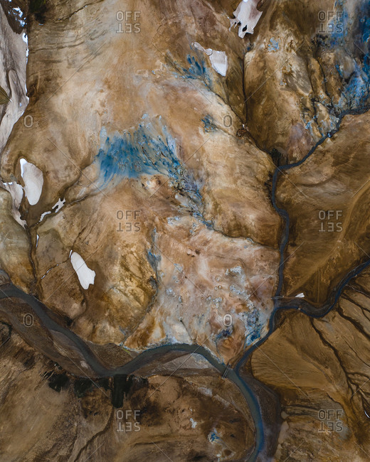 Abstract aerial view of landscapes in Iceland.
