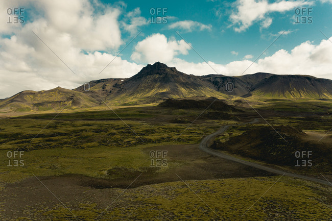 Aerial view of road in volcanic Icelandic landscape, outside the capital, Iceland.