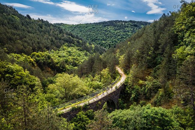 Aerial view of Freski Bridge & Tunnel surrounded by trees in Vizintini Vrhi, Croatia