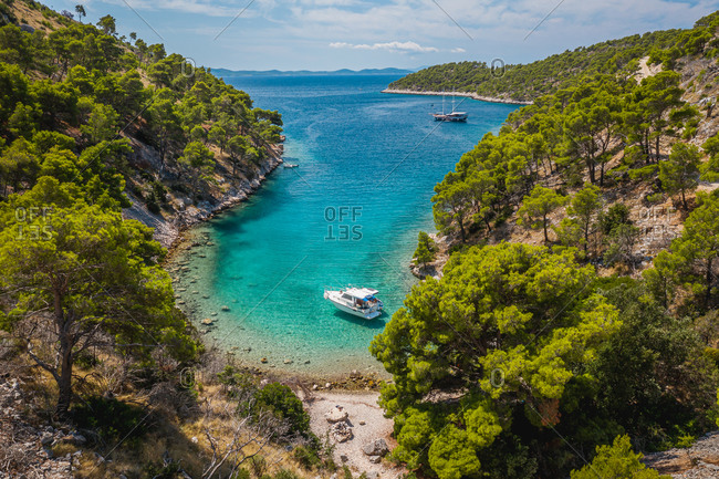 August 16, 2019: Aerial view of boats on the shore of the bay in Nerezisca, Croatia