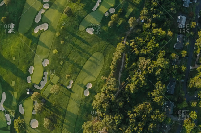 October 23, 2020 - New York, USA: Aerial view of Winged Foot Golf Course.