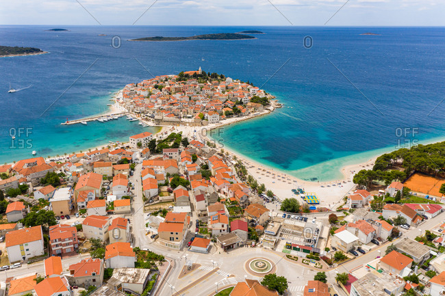 June 22, 2020: Aerial view of Primosten, Dalmatia, Croatia.