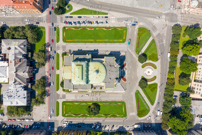 Aerial view of the National Theatre in Zagreb, Croatia.