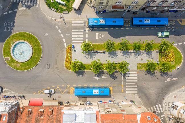 Aerial view of empty Britanac square, Zagreb, Croatia.
