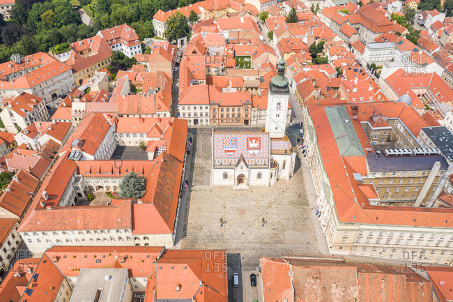Aerial view of the Church of Saint Marko, Zagreb, Croatia.