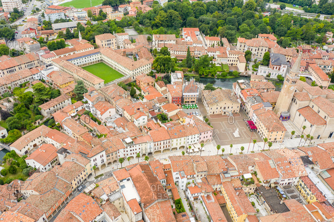 Aerial view of the downtown, Portogruaro, Italy.