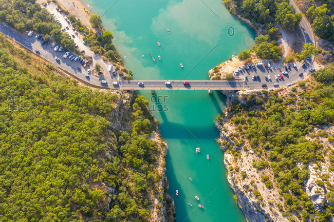 Aerial view of the grand canyon du Verdon, Provence, France.