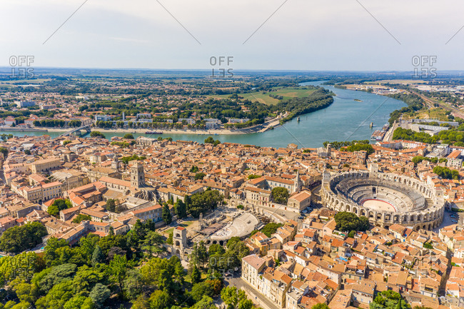 Aerial view of the city of Arles with ancient arena, France.