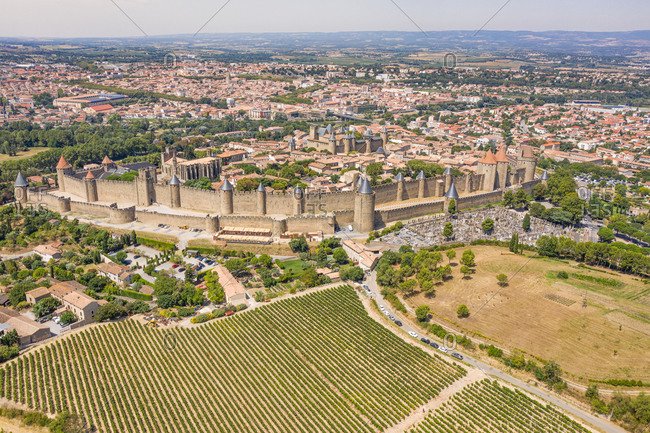 Aerial view of the Carcassonne fortress, France.
