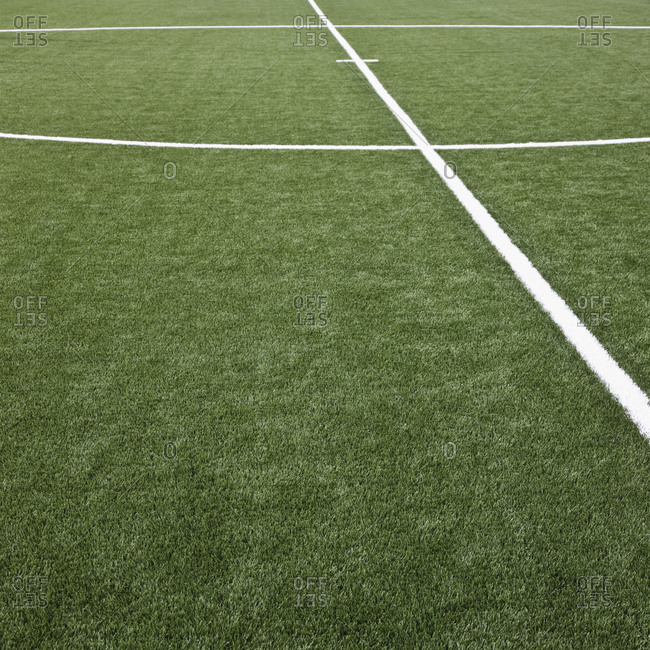 Soccer field with markings, close up