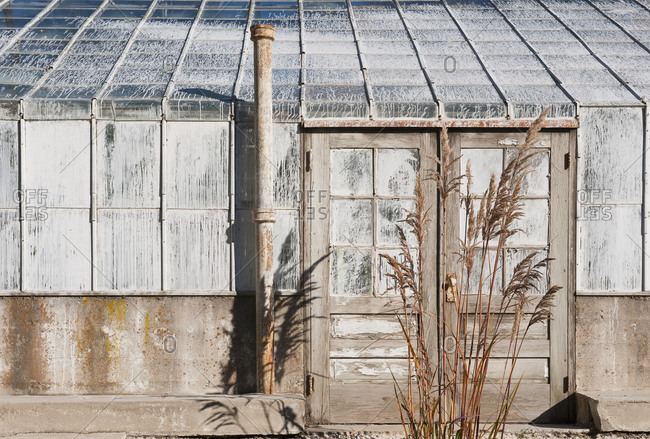 Abandoned dilapidated greenhouse, side view