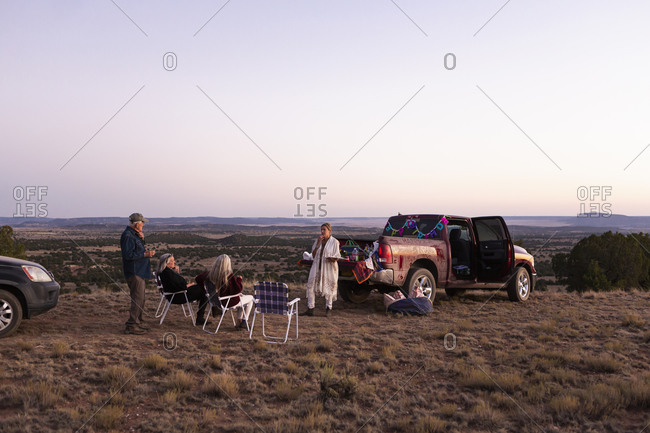 Extended family camping out, Galisteo Basin