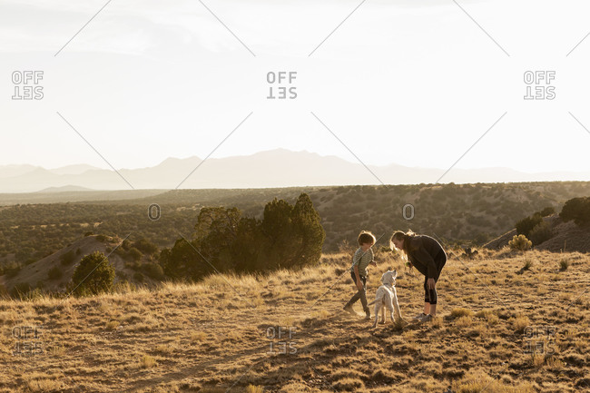 Children at sunset playing with their English Cream Golden Retriever