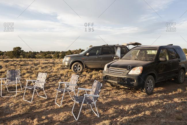 Lawn chairs at sunset, Galisteo Basin