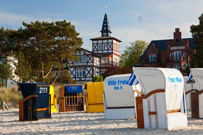 December 14, 2020: Beach baskets wicker covered seats, Sellin, Rugen Island, Baltic coast, Mecklenburg-Western Pomerania, Germany