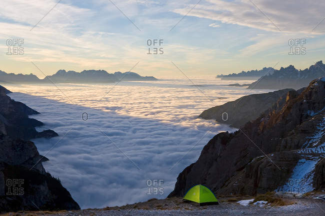 December 14, 2020: Tent above the clouds, Trentino-Alto Adige, South Tyrol in Bolzano district, Alta Pusteria, Hochpustertal, Sexten Dolomites, Italy